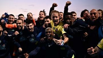 La joie des joueurs de Rumilly Vallières après la qualification en demi-finales de Coupe de France.