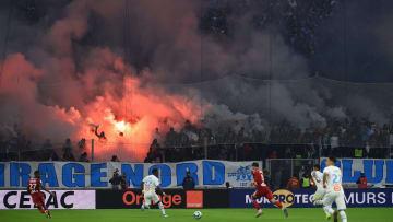 Le virage nord du Vélodrome lors du match entre l'OM et l'OL la saison dernière.