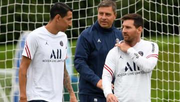 FBL-FRA-LIGUE1-PSG-TRAINING - Messi y Di María, argentinos que tendrán participación aquí.