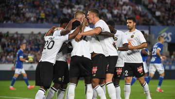 La joie des Lillois lors de leur succès face à Strasbourg (1-2)