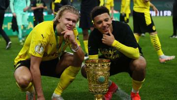 Erling Haaland (l.) bedauert den BVB-Abschied von Jadon Sancho (r.)