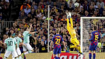 Das renitente Barça-Trio in Aktion (hier in einem Champions League-Spiel gegen Inter Mailand vom vergangenen Jahr)