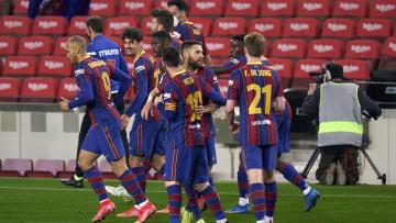 Drehten das 0:2 aus dem Hinspiel und zogen doch noch ins spanische Pokalfinale ein: die Spieler vom FC Barcelona