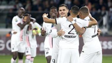 Mauro Icardi, Achraf Hakimi avec le Paris Saint Germain cette saison en Ligue 1 Uber Eats
