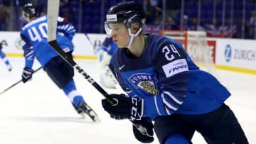 KOSICE, SLOVAKIA - MAY 17: Kaapo Kakkoof Finland warms up prior to the 2019 IIHF Ice Hockey World Championship Slovakia group A game between Finland and Great Britain at Steel Arena on May 17, 2019 in Kosice, Slovakia. (Photo by Martin Rose/Getty Images)