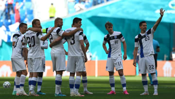 Jukka Raitala and Robin Lod with Finland vs Russia during the UEFA Euro 2020: Group B