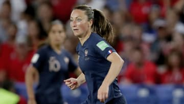 Gaëtane Thiney playing for France against USA  in the FIFA Women World Cup