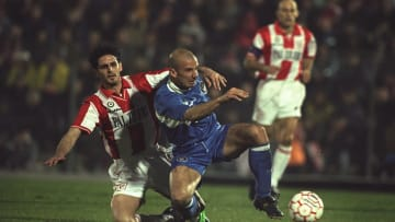 GianLuca Vialli of Chelsea fights off a Vicenza player