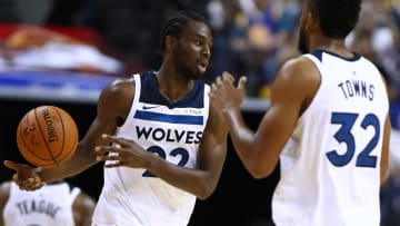 SHANGHAI, CHINA - OCTOBER 08:  Andrew Wiggins #22 of the Minnesota Timberwolves in action during the game between the Minnesota Timberwolves and the Golden State Warriors as part of 2017 NBA Global Games China at Mercedes-Benz Arena on October 8, 2017 in Shanghai, China.  (Photo by Zhong Zhi/Getty Images)