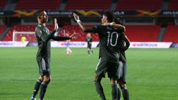 Manchester United celebrate going 1-0 up against Granada on Thursday night