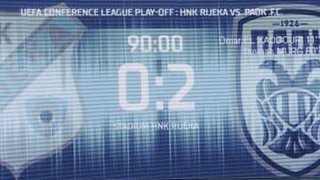 UEFA Konferans Ligi play-off 2. maçında karşı karşıya gelen Hırvat ekibi Rijeka ile Yunan ekibi PAOK maçının skor tabelası.