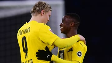 Erling Haaland (left) was quick to laud his young teammate Youssoufa Moukoko after scoring four goals himself on the weekend