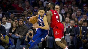 Ben Simmons and James Harden, Houston Rockets v Philadelphia 76ers