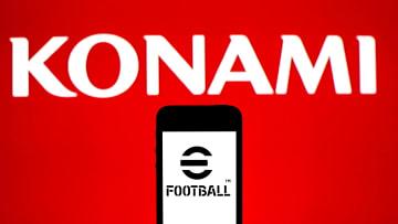 Ilustrasi logo Konami dan eFootball