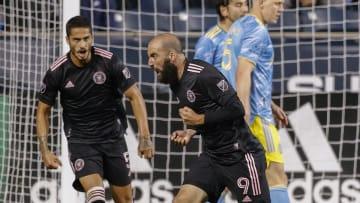 Gonzalo Higuain celebrates his goal for Inter Miami