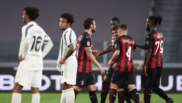 L'esultanza del Milan contro la Juventus