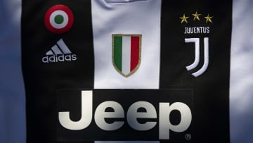 Juventus Home Shirt with Jeep and Adidas Displayed