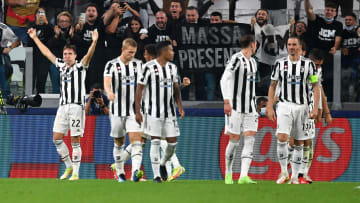 Federico Chiesa (left) and his teammates celebrate the opening goal against Chelsea