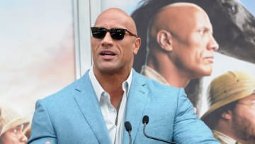 Dwayne Johnson at the Kevin Hart Hand And Footprint Ceremony At the TCL Chinese Theatre IMAX