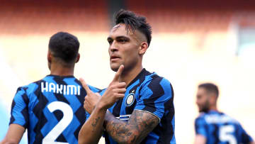 Lautaro Martinez of Fc Internazionale  celebrates after...