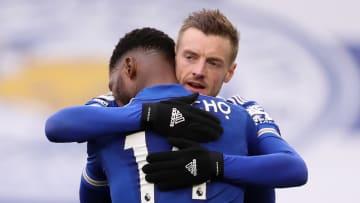 Kelechi Iheanacho and Jamie Vardy celebrate Leicester's win