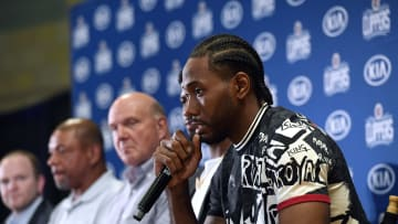 LOS ANGELES, CA - JULY 24: Kawhi Leonard speaks during his introductory news conference at Green Meadows Recreation Center on July 24, 2019 in Los Angeles, California. NOTE TO USER: User expressly acknowledges and agrees that, by downloading and or using this photograph, User is consenting to the terms and conditions of the Getty Images License Agreement. at Green Meadows Recreation Center on July 24, 2019 in Los Angeles, California. (Photo by Kevork Djansezian/Getty Images)