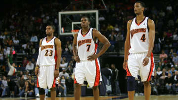 From left to right: CJ Watson, Kelenna Azubuike and Anthony Randolph of the Warriors