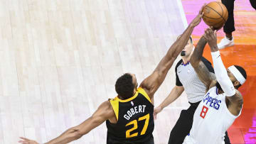 Rudy Gobert blocks Marcus Morris to end game 1.
