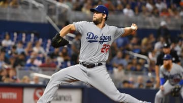 MIAMI, FL - AUGUST 14: Clayton Kershaw #22 of the Los Angeles Dodgers delivers a pitch in the first inning against the Miami Marlins at Marlins Park on August 14, 2019 in Miami, Florida. (Photo by Mark Brown/Getty Images)