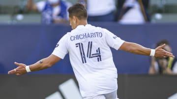 LA Galaxy forward Chicharito celebrates scoring against Los Angeles FC