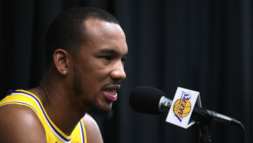 EL SEGUNDO, CALIFORNIA - SEPTEMBER 27:  Avery Bradley #11 of the Los Angeles Lakers speaks to the press during Los Angeles Lakers media day at UCLA Health Training Center on September 27, 2019 in El Segundo, California. (Photo by Harry How/Getty Images)