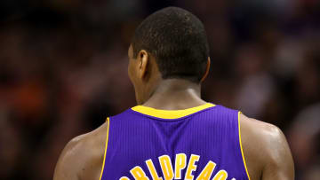Ron Artest going by the name Metta World Peace in a game for the Los Angeles Lakers