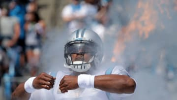 CHARLOTTE, NORTH CAROLINA - SEPTEMBER 08: Quarterback Cam Newton #1 of the Carolina Panthers takes the field against the Los Angeles Rams in the game at Bank of America Stadium on September 08, 2019 in Charlotte, North Carolina. (Photo by Streeter Lecka/Getty Images)