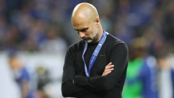 Pep Guardiola cut a dejected figure after losing the Champions League final in May