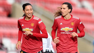Christen Press (L) & Tobin Heath (R) each signed a one-year contract with Man Utd last summer
