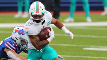 Myles Gaskin's fantasy outlook is rising as he's been named The Athletic's 2021 Miami Dolphins breakout pick.