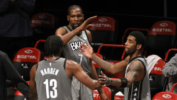 Kevin Durant, Kyrie Irving, and James Harden