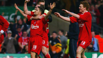 Michael Owen of Liverpool celebrates scoring the second goal
