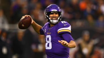 CHICAGO, ILLINOIS - SEPTEMBER 29:  Kirk Cousins #8 of the Minnesota Vikings looks to pass during a game against the Chicago Bears at Soldier Field on September 29, 2019 in Chicago, Illinois. The Bears defeated the Vikings 16-6.  (Photo by Stacy Revere/Getty Images)