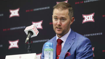 Could the Big XII background behind OU coach Lincoln Riley be substituted for an SEC banner in a few years?