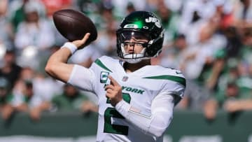 Sep 19, 2021; East Rutherford, New Jersey, USA; New York Jets quarterback Zach Wilson (2) throws the