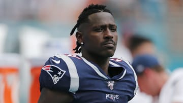 MIAMI, FLORIDA - SEPTEMBER 15:  Antonio Brown #17 of the New England Patriots looks on against the Miami Dolphins during the fourth quarter at Hard Rock Stadium on September 15, 2019 in Miami, Florida. (Photo by Michael Reaves/Getty Images)