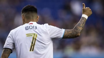 New England Revolution forward Gustavo Bou scored his third goal of the season from outside the box vs New York Red Bulls.