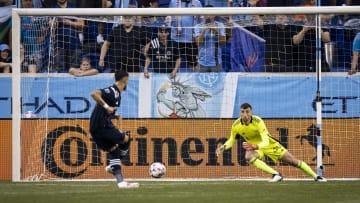 Matt Turner saving the penalty from Valentin Castellanos during New England Revolution v New York City FC
