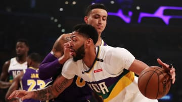 LOS ANGELES, CALIFORNIA - FEBRUARY 27: Anthony Davis #23 of the New Orleans Pelicans drives against Kyle Kuzma #0 of the Los Angeles Lakers during the first half at Staples Center on February 27, 2019 in Los Angeles, California. NOTE TO USER: User expressly acknowledges and agrees that, by downloading and or using this photograph, User is consenting to the terms and conditions of the Getty Images License Agreement. (Photo by Yong Teck Lim/Getty Images)