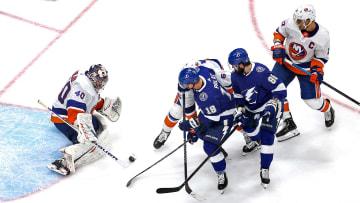 Ondrej Palat, Nikita Kucherov, Semyon Varlamov, Anders Lee, Ryan Pulock