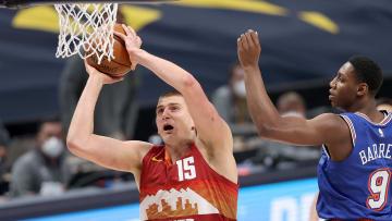 Nikola Jokic dunking.