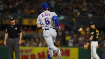 PITTSBURGH, PA - AUGUST 03:  Jeff McNeil #6 of the New York Mets rounds second after hitting a solo home run in the seventh inning against the Pittsburgh Pirates at PNC Park on August 3, 2019 in Pittsburgh, Pennsylvania.  (Photo by Justin K. Aller/Getty Images)