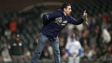 Padres fan takes the mound.