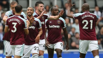 West Ham player celebrate during the victory at Newcastle